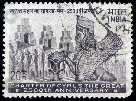 تمبر کشور هندوستان به مناسبت بزرگداشت کوروش بزرگ