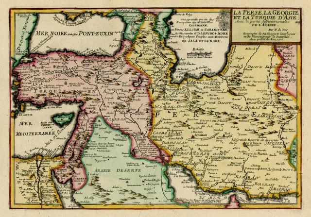 نقشه فرانسوی از ایران عصر صفوی مربوط به سال 1705
