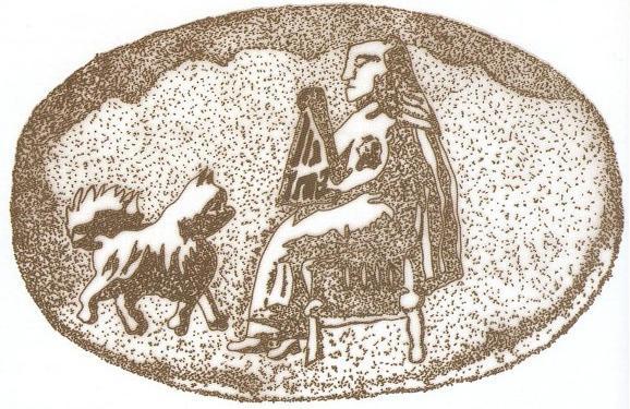 مُهر سنگی با نقش یک زن پارسی در حال نواختن چنگ - هخامنشی (موزه بوستون)