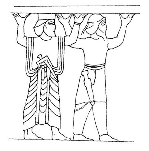پیکرهی یک مادی (راست) و یک پارسی (چپ) در سنگنگارهی نقش رستم