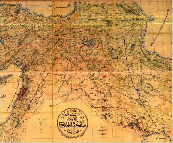 نقشه به زبان عربی از بایگانی دولت عثمانی مربوط به 1892.م دوره سلطان عبادالحمید. نام و جایگاه آذربایجان، شروان [شیرقان] و مرزهای ایران در آن مشخص است