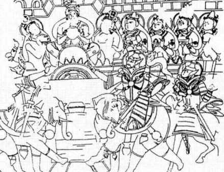 نگارهای یافت شده در کومتورا که صحنهی جنگ سربازان را همچون تصاویر شاهنامهی بایسنقری به تصویر  کشیده است